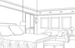 Quarto com chaminé Mobília editável do vetor Interior no estilo retro Fotografia de Stock Royalty Free