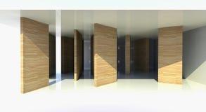 Quarto com divisória de madeira, arquitetura abstrata Ilustração Royalty Free
