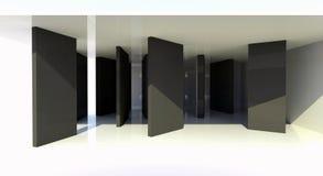 Quarto com divisória preta, arquitetura abstrata Ilustração Stock