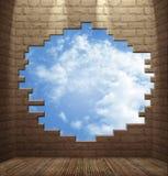 Quarto com paredes de tijolo Imagem de Stock