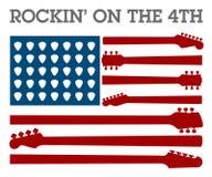 Quarto creativo del manifesto di musica rock di luglio Fotografia Stock