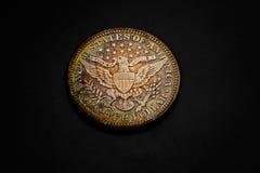 Quarto d'argento naturalmente modificato del barbiere - inverso Fotografie Stock
