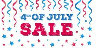 Quarto da bandeira da venda de julho Cartão americano do Dia da Independência Fotografia de Stock Royalty Free