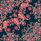 Quarto da cópia étnica do bandana do russo com beira floral Lenço de pescoço de seda com ramalhetes e o paisley bonitos ilustração royalty free