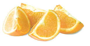 Quarto da laranja isolado em um branco Fotos de Stock Royalty Free