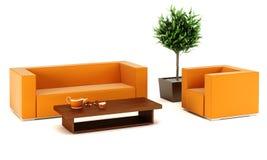 Quarto da sala de estar com sofá de couro Fotos de Stock Royalty Free