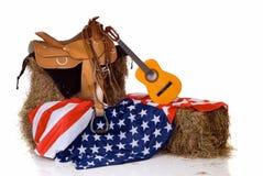 Quarto da sela e da bandeira de julho Imagens de Stock Royalty Free