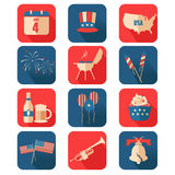 Quarto de ícones de julho Imagem de Stock Royalty Free