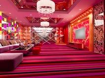 quarto de clube 3D, salão Imagens de Stock