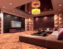 quarto de clube 3D, salão Fotos de Stock Royalty Free