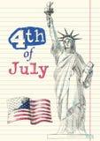 Quarto de Doodles de julho ilustração royalty free