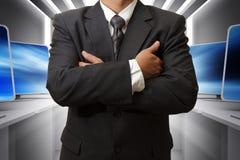 Quarto de homem e de computador de negócio Fotos de Stock