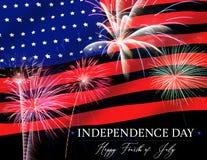 Quarto dei fuochi d'artificio di festa dell'indipendenza di luglio illustrazione vettoriale