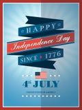 quarto del fondo del nastro di festa dell'indipendenza di luglio Fotografie Stock Libere da Diritti