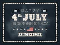 quarto del fondo della lavagna di festa dell'indipendenza di luglio Immagine Stock Libera da Diritti