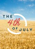 Quarto del grafico di luglio contro grainfield Immagini Stock