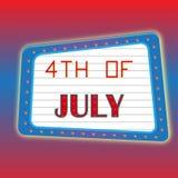 quarto del manifesto dell'insegna di luglio Immagine Stock Libera da Diritti