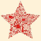 quarto dell'illustrazione del collage di simboli dell'icona di luglio T-SH Fotografie Stock Libere da Diritti