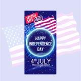 Quarto dell'insegna di festa dell'indipendenza di luglio con l'ondeggiamento della bandiera di U.S.A. ed il motivo a stelle blu illustrazione vettoriale