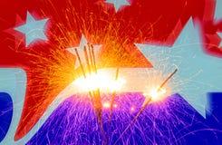 Quarto della celebrazione di luglio con le stelle filante immagine stock libera da diritti