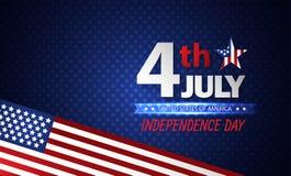 Quarto della festa dell'indipendenza di luglio sottragga la priorità bassa Vettore illustrazione di stock