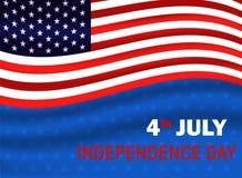 Quarto della festa dell'indipendenza di luglio di U.S.A. Bandiera di U.S.A. che ondeggia sul fondo blu con la stella Illustrazion illustrazione vettoriale