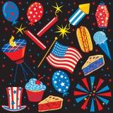 quarto delle icone e degli elementi di luglio illustrazione di stock