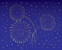 Quarto di Fireworkon di luglio o di nuovo anno/blu scuro Immagini Stock