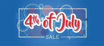 Quarto di luglio quarto dell'insegna di festa di luglio Insegna di festa dell'indipendenza di U.S.A. da vendere, lo sconto, la pu Fotografia Stock Libera da Diritti