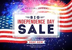 Quarto di luglio Progettazione dell'insegna di vendita di festa dell'indipendenza con la bandiera sul fondo del fuoco d'artificio royalty illustrazione gratis
