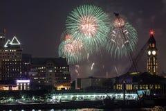 Quarto di Macy dei fuochi d'artificio di luglio in New York Immagini Stock