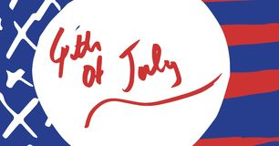 Quarto di rosso del grafico di luglio nel cerchio bianco contro la bandiera americana disegnata a mano Fotografie Stock Libere da Diritti