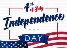 Quarto do cartão de julho para EUA Fotografia de Stock Royalty Free