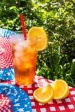 Quarto do chá gelado de julho com piquenique do verão do limão Fotos de Stock Royalty Free