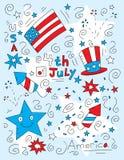 Quarto do Doodle de julho Imagens de Stock