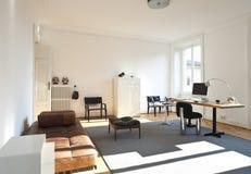 Quarto do estúdio com a mobília retro Imagens de Stock