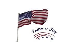 Quarto do gráfico do partido de julho contra a bandeira americana e o fundo branco Imagem de Stock Royalty Free