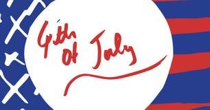 Quarto do vermelho do gráfico de julho no círculo branco contra a bandeira americana tirada mão Fotos de Stock Royalty Free