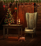 Quarto do vintage com uma árvore de Natal Imagem de Stock