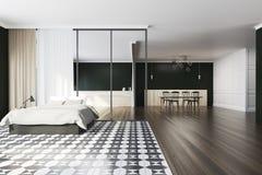 Quarto e sala de jantar pretos Fotografia de Stock Royalty Free