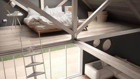Quarto, escadas e vida do sótão do mezanino com o sofá, minimalista Imagens de Stock Royalty Free
