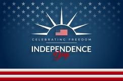 Quarto felice del fondo della bandiera di U.S.A. di festa dell'indipendenza di luglio illustrazione vettoriale