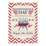 Quarto felice del manifesto della griglia del BBQ di luglio Modello per il quarto del partito del BBQ di luglio Fondo di festa de Fotografia Stock