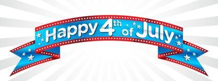 Quarto felice del vettore dell'insegna di luglio Fotografia Stock Libera da Diritti