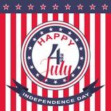 Quarto felice di vettore del fondo di luglio Festa dell'indipendenza di U Fotografia Stock