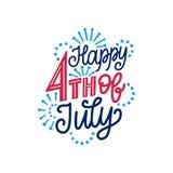 Quarto felice luglio, di iscrizione della mano Calligrafia per la festa dell'indipendenza Iscrizione di vettore sul fondo dei fuo Immagini Stock Libere da Diritti
