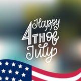 Quarto felice luglio, di iscrizione della mano Vector l'iscrizione per la cartolina d'auguri, l'insegna ecc Calligrafia per la fe Fotografie Stock