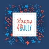Quarto feliz de julho Carde o molde Imagens de Stock Royalty Free