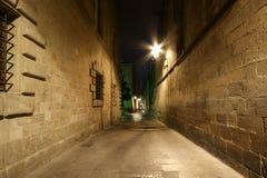 Quarto gotico alla notte. Barcellona, Spagna Fotografie Stock Libere da Diritti