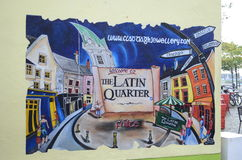 Quarto latino, pintura celta em uma parede nas ruas de Galway, Irlanda Imagens de Stock Royalty Free